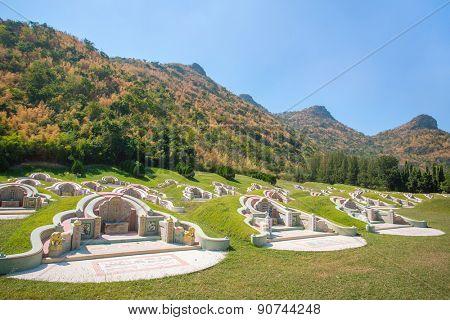 Kanchanaburi, Thailand - January 6, 2015: Chinese cemetery in Kanchanaburi province, Thailand