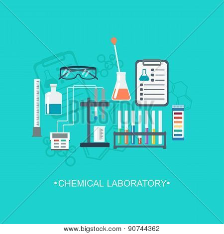 The Chemical Background, Banner, Cover. Flat Design. Chemical Glassware, Laboratory. Vector