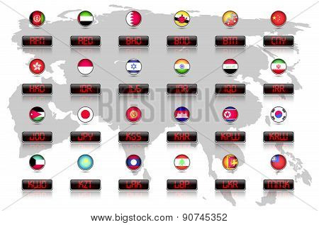Countries flags with official currency symbols, Asia part 1