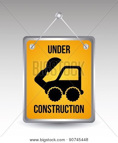 excavator cartoon over gray background vector illustration