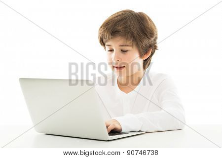 Boy using laptop