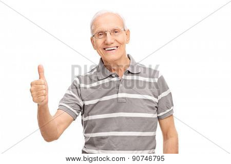 Cheerful senior man giving a thumb up and looking at the camera isolated on white background