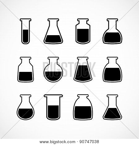 Vector black laboratory flask set.