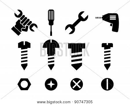 construction tools over white background vector illustration