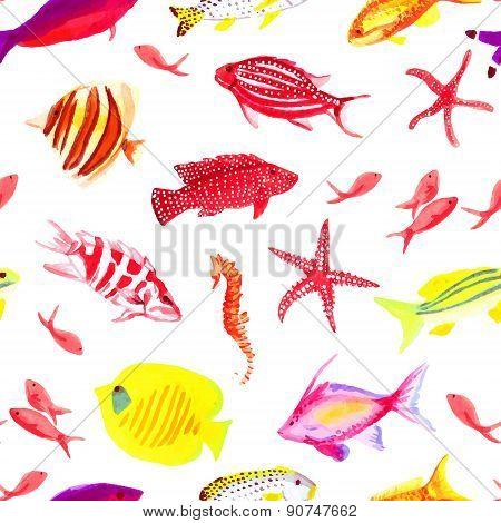 Underwater Colorful Watercolor Seamless Vector Print