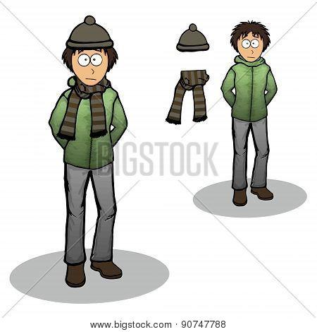 Boy In A Winter Jacket Illustration Cartoon
