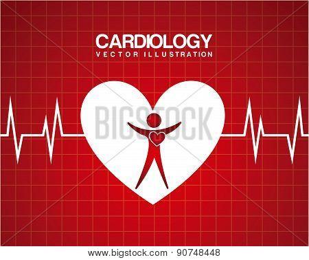 medical  heart design over red  background vector illustration
