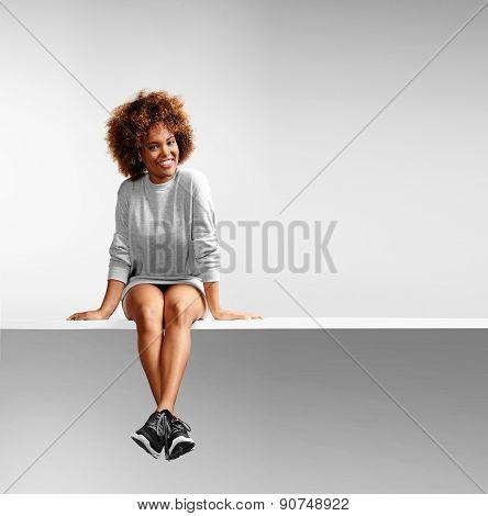 pretty woman wearing a sweatdress