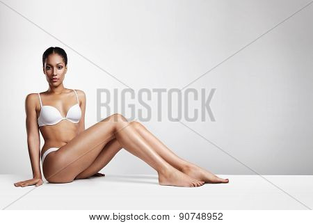 Horisontal Portrait Beauty Woman In Underwear