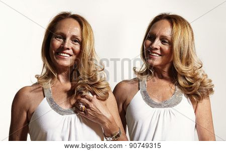 Closeup Of Senior Woman With Blondie Curly Hair