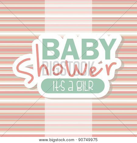 baby shower design over colorful stripes background vector illus