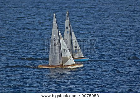 Miniature Racing Yachts Neck and Neck
