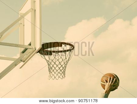 Basketball hoop - retro style photo