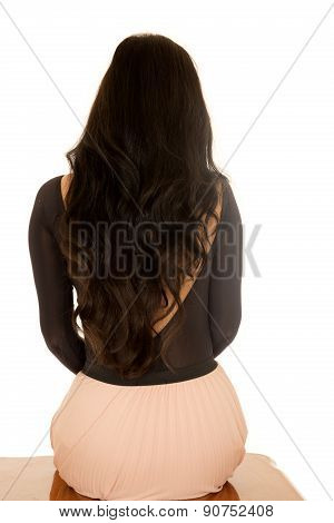 Back View Of A Female Sitting Down With Long Brunette Hair
