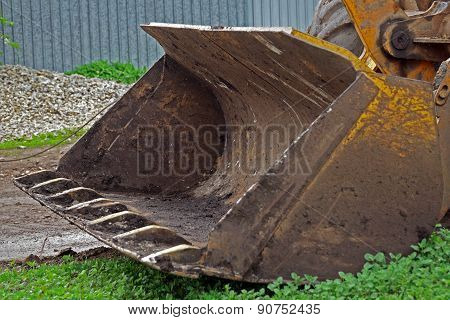 ladle of an excavator at  construction site