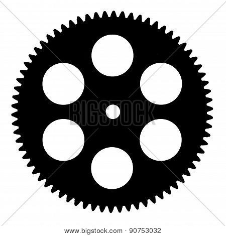 Silhouette Pinion, Isolated On White Background