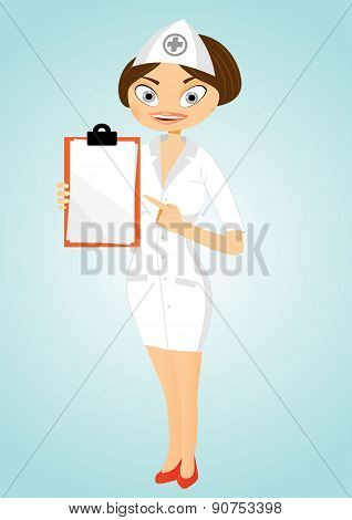 beautiful confident nurse with clipboard