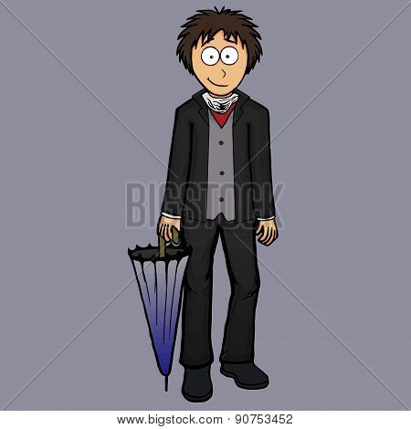Boy In English Suit Illustration Classic, Confident