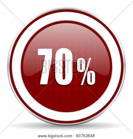 70 percent red glossy web icon