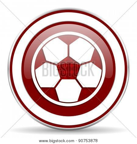soccer red glossy web icon