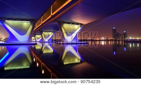 Garhoud Bridge from base at night with long exposure, Dubai