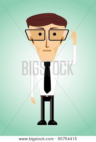 businessman poiting index finger up