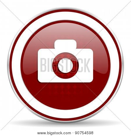 camera red glossy web icon