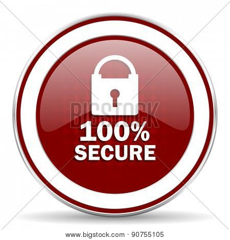 secure red glossy web icon