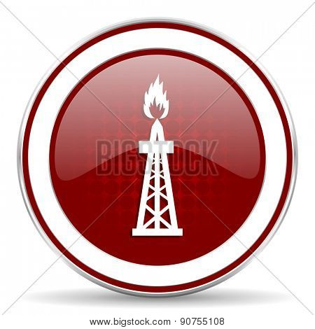 gas red glossy web icon