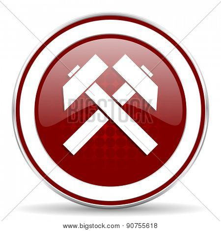 mining red glossy web icon