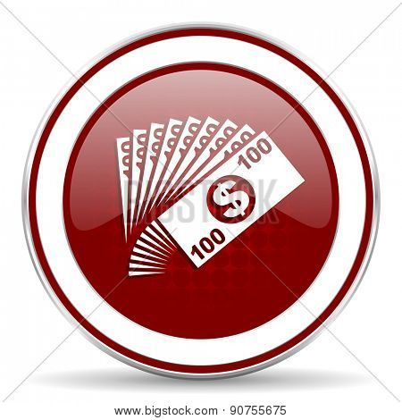 money red glossy web icon