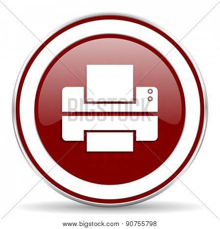 printer red glossy web icon