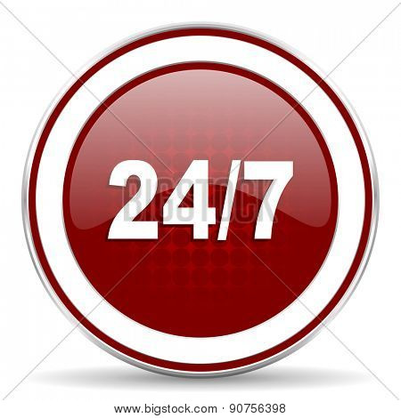 24/7 red glossy web icon