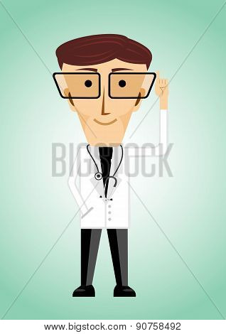 doctor with glasses poiting index finger up
