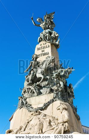 Detail of the Vitoria Battle monument Vitoria Spain.