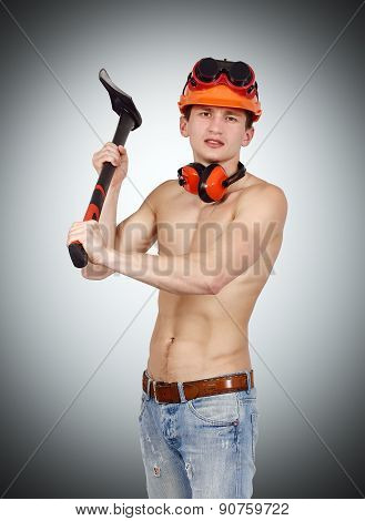 Worker Man Holding Ax