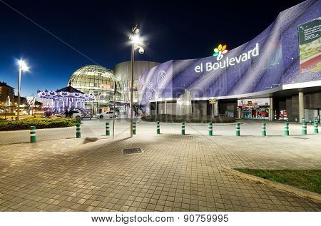 Scenic view of the facade of the Boulevard shopping center at night on March 6 2015 in Vitoria Spain