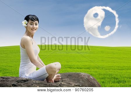 Happy Girl And Ying Yang Cloud Outdoor