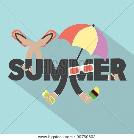 Concept Of Summer Typography Design.