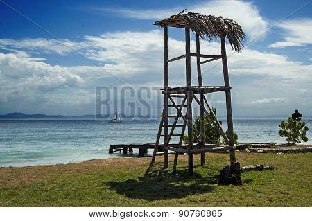 Tropical beach view in Cayo Levantado, Dominican Republic.