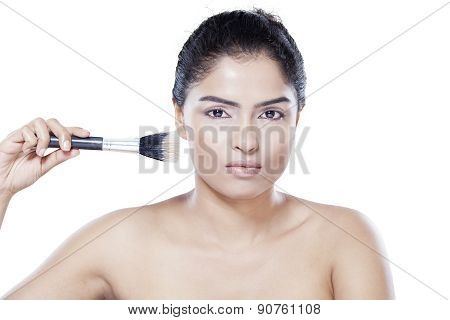 Model With Makeup Brush Isolated