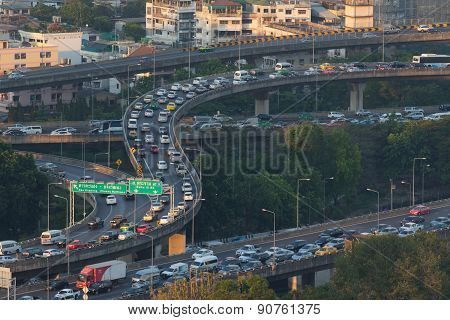 Bangkok Thailand -april21  : Traffic Jam On Express Ways Bridge In Rush Hour  Heart Of Bangkok On Ap