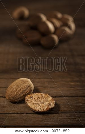 Close up and selective focus on a dried Nut Meg