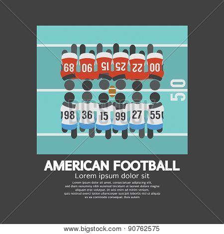 American Football Players Top View.