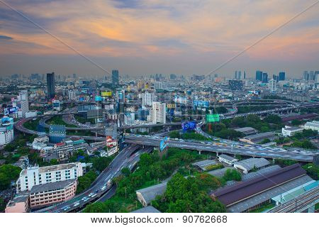 Bangkok Thailand -april 21  : Top View Of Bangkok Shown Express Ways Networks And City Settlement In