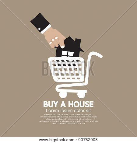 House In Shopping Cart Buy A House Concept.