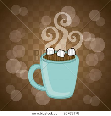 hot cocoa over brown background vector illustration