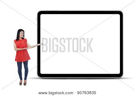 Woman With Blank Board In Studio