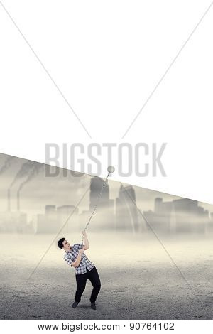 Young Casual Man Pulling Blank Banner