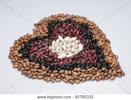 Beans in heart shape.